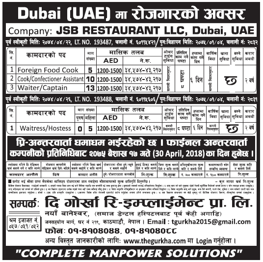 Jobs in UAE for Nepali, Salary Rs 43,217