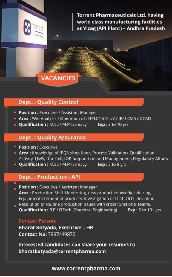 Torrent Pharmaceuticals Ltd Urgent Openings for Quality Control Quality Assurance Production Departments