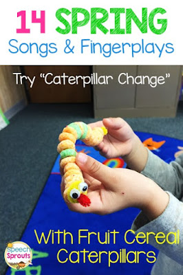 "A fun and easy fruit cereal caterpillar craft for preschool. Make this after learning the fingerplay ""Caterpillar Change"" One of 14 Preschool Songs and Fingerplays for Spring.  #speechsprouts #speechtherapy #preschool  www.speechsproutstherapy.com"