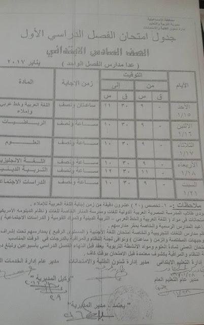 جدول امتحانات الصف السادس الابتدائي 2017 الترم الأول محافظة الاسماعيلية