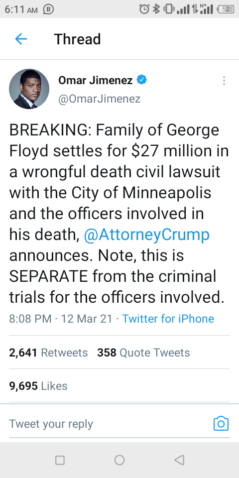 Settlement of George Floyd family after his death