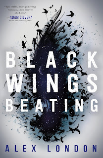 The outline of a black wing is ringed by flying raptors, with the silhouette of two people helping each other climb the side. Inside the outline is a field of stars with a moon barely visible.
