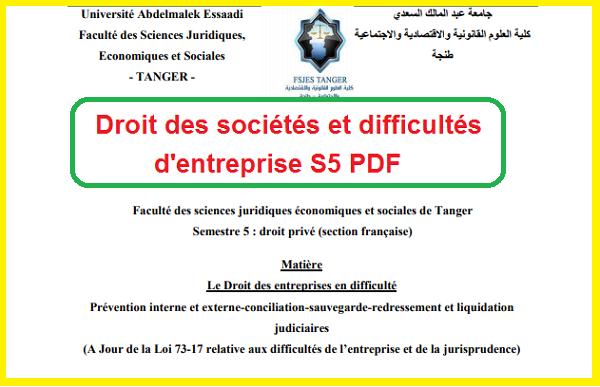 Droit des sociétés et difficultés d'entreprise S5 PDF