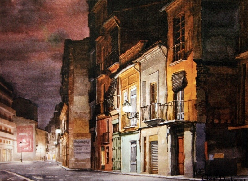 13-Abel-Puche-Watercolor-Paintings-of-the-City-at-Night-www-designstack-co