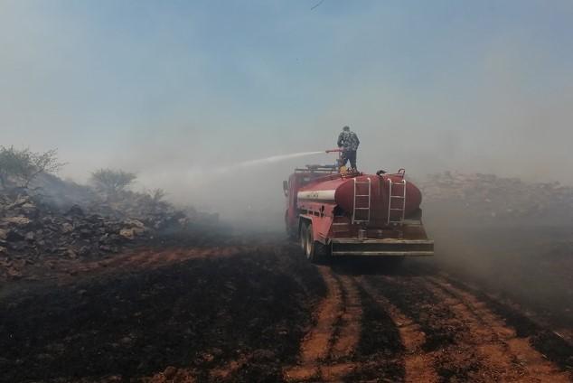 فوج إطفاء السويداء يؤازر نظيره في درعا لإخماد حريق ضخم