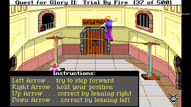 Screenshot of Thief character walking the tightrope in Quest for Glory II