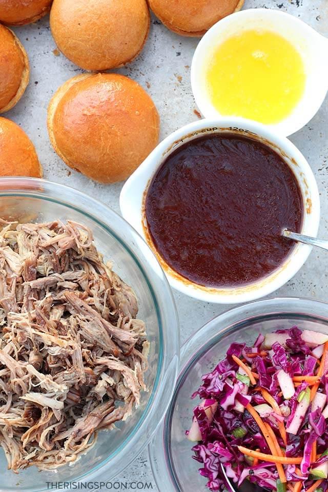 Ingredients For BBQ Pulled Pork Sliders with Vinegar Slaw