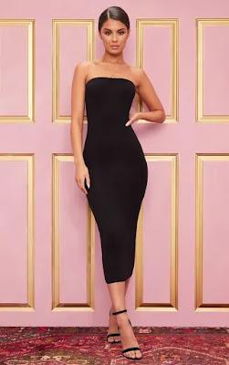 Basic Black Bandeau Midaxi Dress