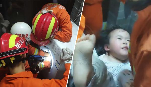 (Video) Budak terperangkap dalam mesin basuh