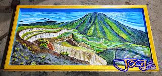 Relief lukisan timbul gunung pangrango batu alam putih