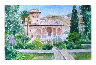 Cuadro del Palacio del Partal en la Alhambra de Granada