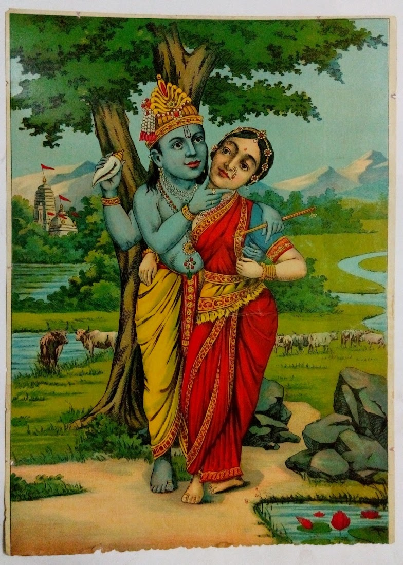 Radha and Krishna - Indian Vintage Lithograph Prints