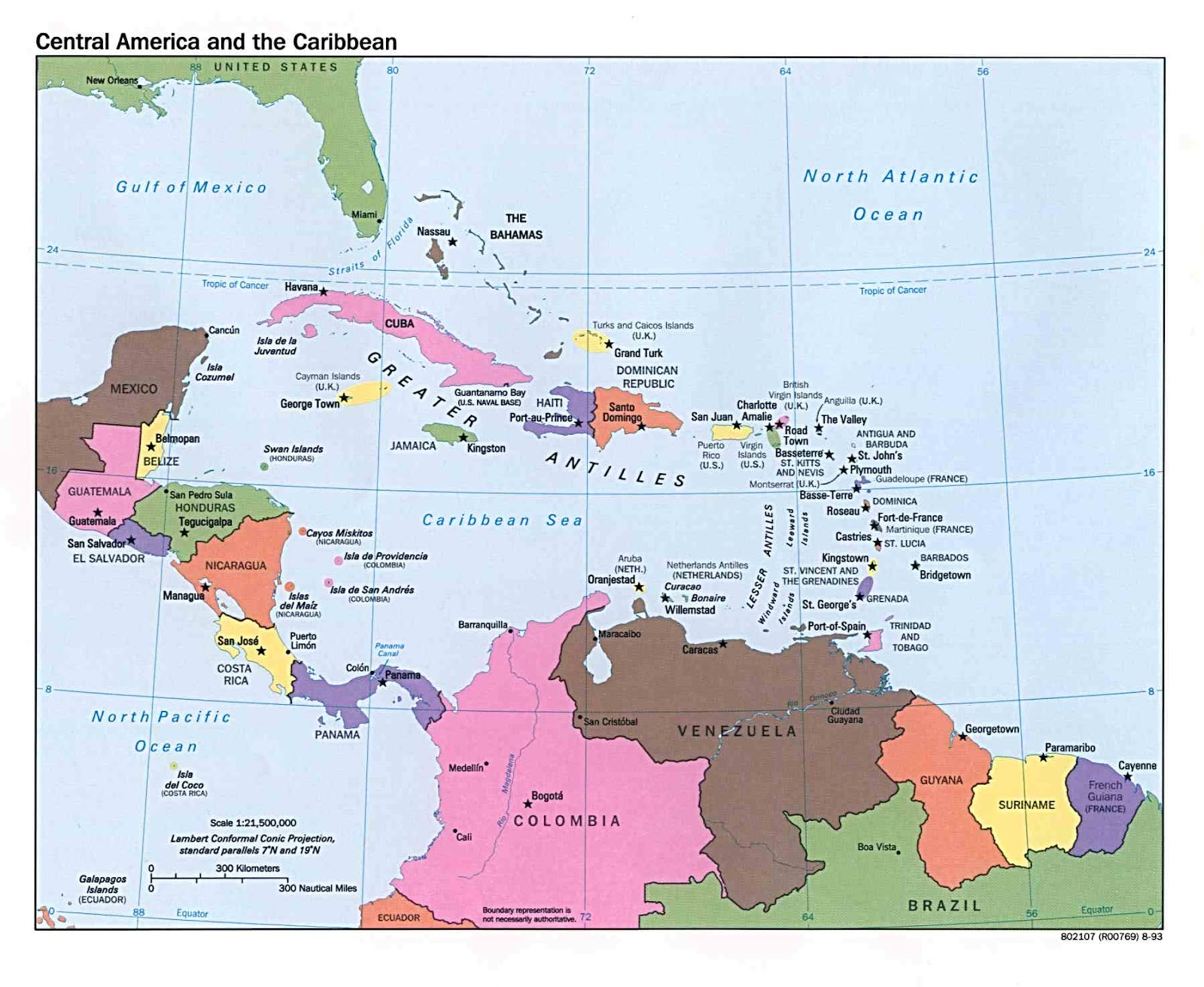 Politische Landkarte Der Karibik Und Mittelamerika 1993 Englisch
