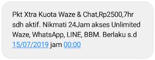paket chat telah aktif