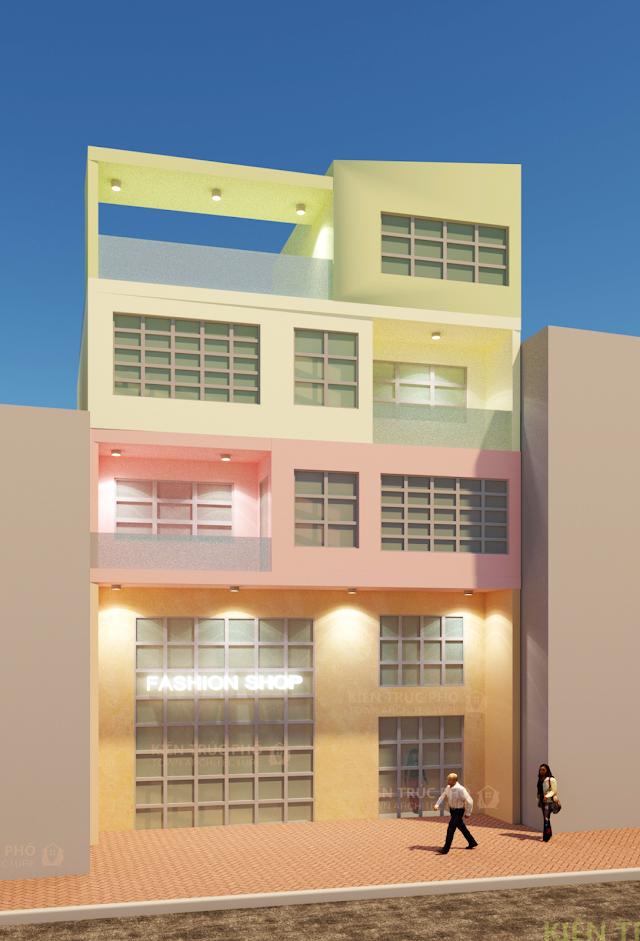 Nhà phố mặt tiền rộng 9 mét hơi vạt xéo góc 6 °