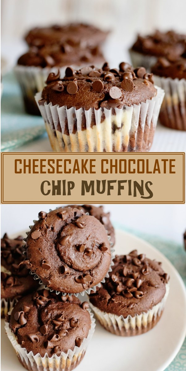CHEESECAKE CHOCOLATE CHIP MUFFINS #cupcakerecipes