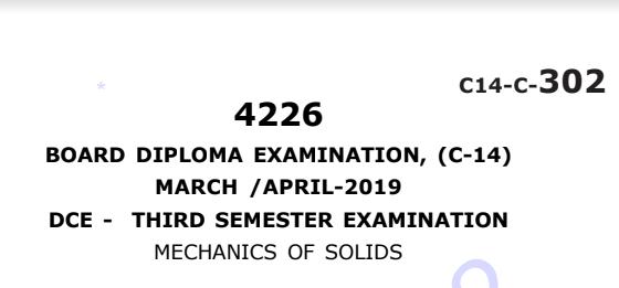 Sbtet Mechanics of Solids Previous Question Paper c14 March/April 2019
