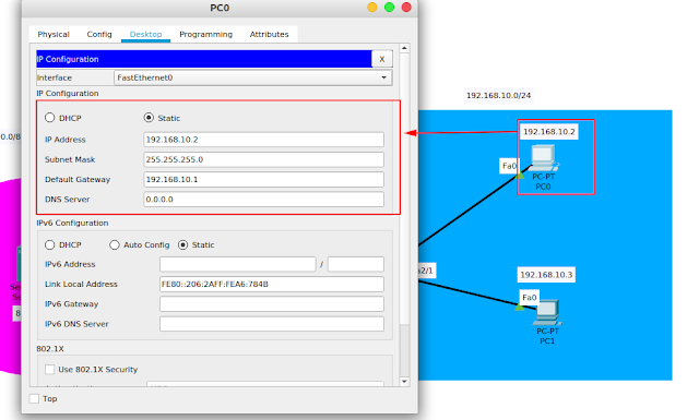 Konfigurasi IP PC0 dan PC1