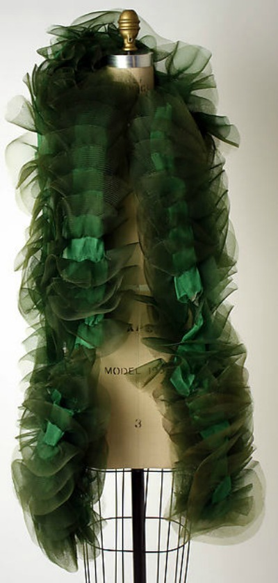 Christian Dior green chiffon and tulle boa 1950's