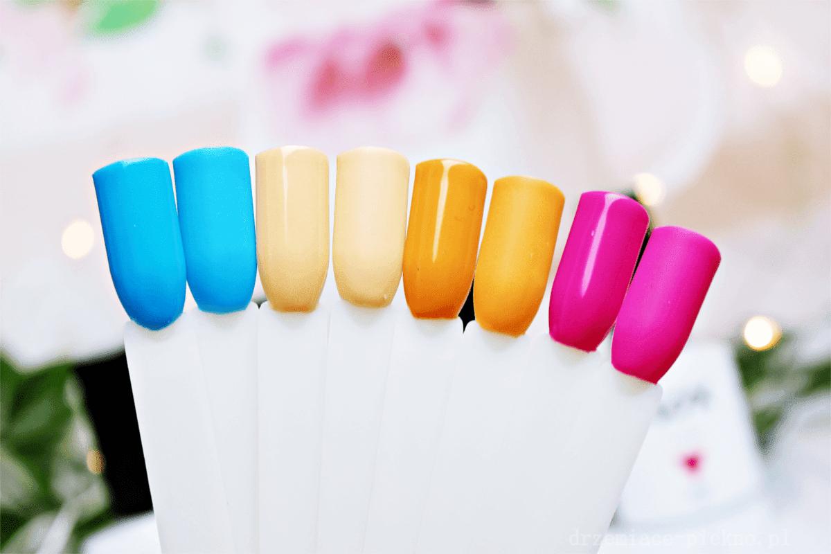 Lakiery Hybrydowe Nox Nails Morelowe lody 2949, Pomarańczowy sorbet 1717, Bezchmurne niebo 1697, Malina 1719 | Essential Top i Essential Base do hybryd Nox Nails