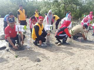 Cegah Abrasi, Polres Batu Bara Tanam Mangrove
