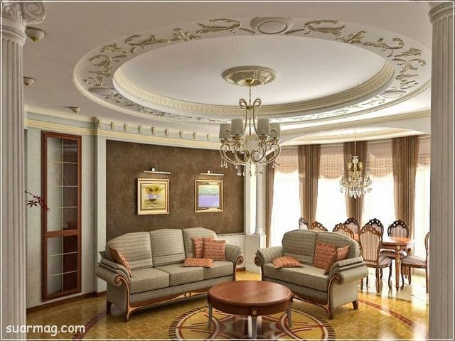 ديكورات جبس اسقف راقيه كلاسيك 16   Classic Gypsum Ceiling 16
