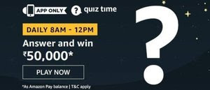 Amazon Quiz Answers 20 April Today Rs.50000