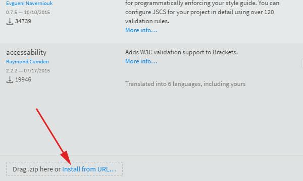 Drag zip file o use URL in Brackets