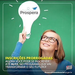 Programa Prospera tem inscrições prorrogadas até 06/03