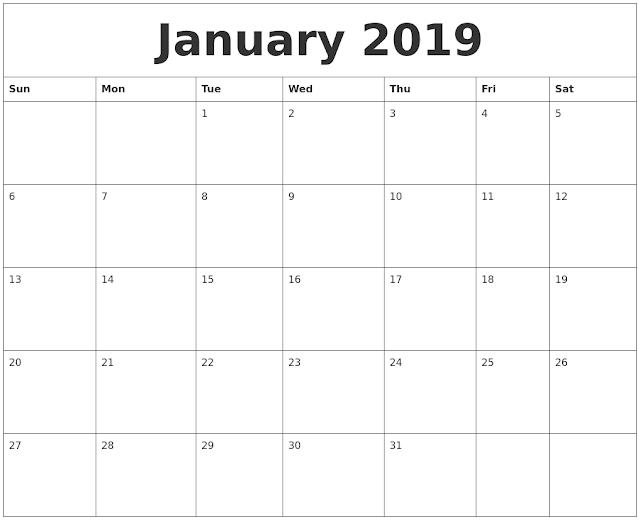 January 2019 Printable Calendar A4