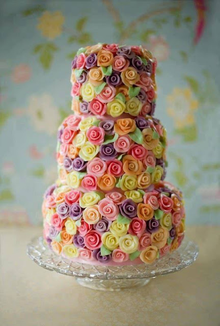 Colorful roses cake
