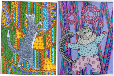 Cat therapy coloring pages: circus cats