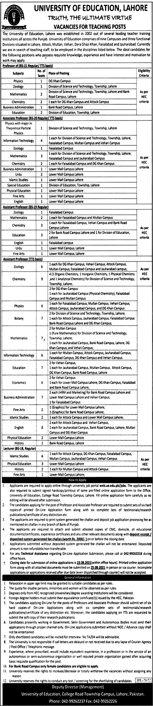 Latest Jobs in University of Education UE 2021- Apply online