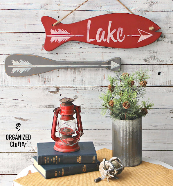 Thrift Shop Oar Upcycled As An Arrow Sign #oldsignstencils #stencil #fishingdecor #signs #Lakedecor #upcycle #repurpose