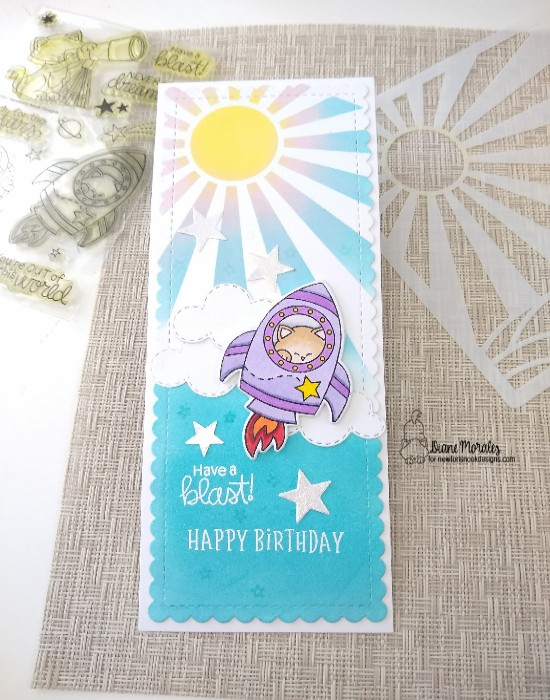 Have a blast by Diane features Slimline Frames & Portholes, Sunscape, Sky Scene Builder, Cosmic Newton, and Birthday Roundabout by Newton's Nook Designs; #inkypaws, #newtonsnook, #cardmaking, #catcards