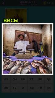 мужчина продавец на весах взвешивает и продает свою рыбу