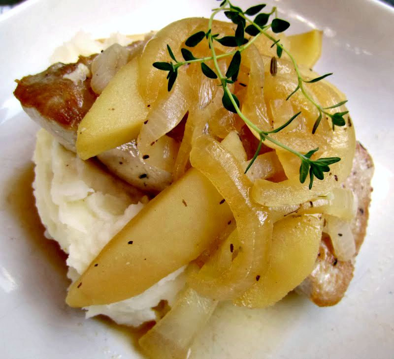 Pork Chops with Brandied Apples and Onions | Renee's Kitchen Adventures - Healthy recipe for a quick pork dinner!
