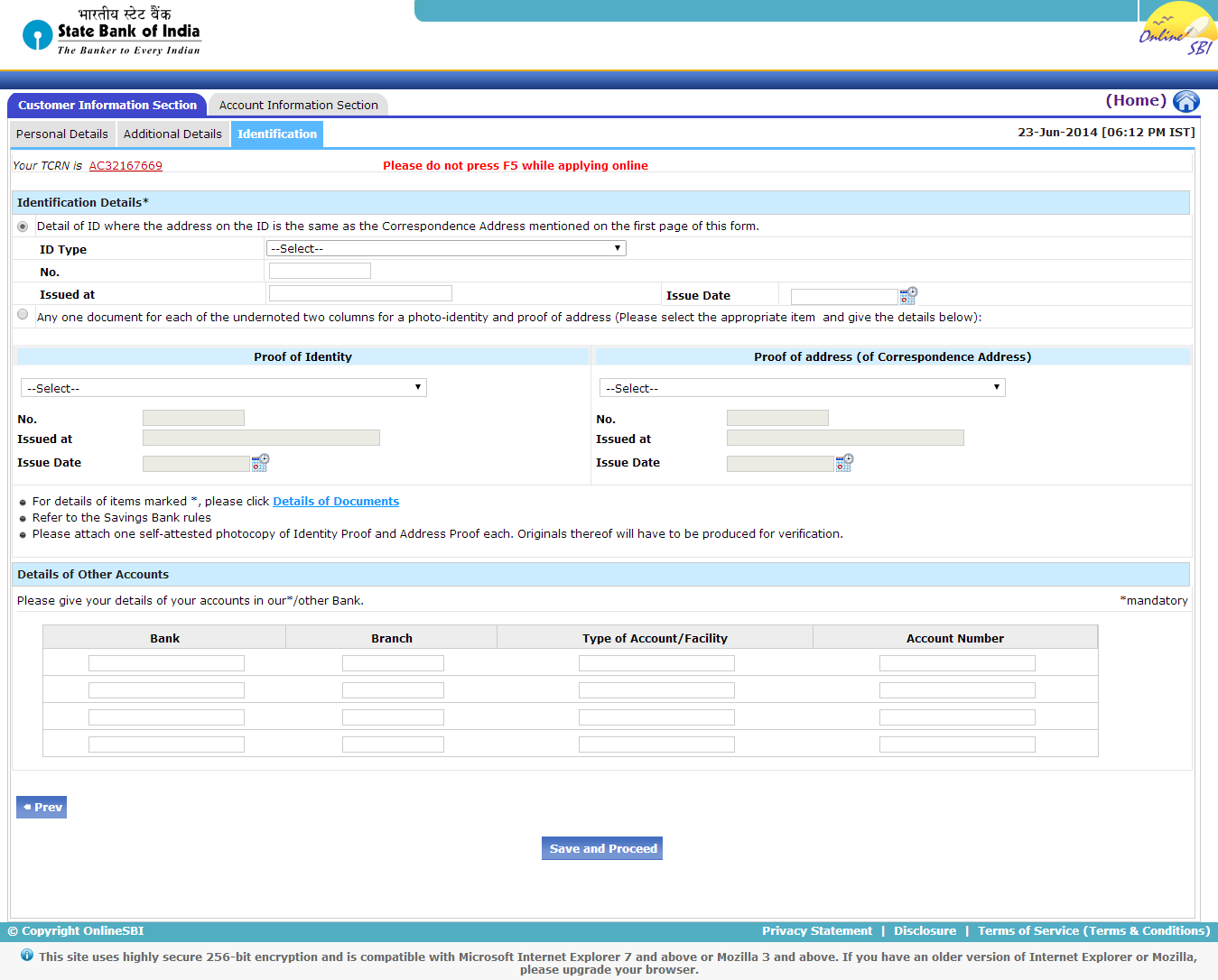 sbi bank saving account application