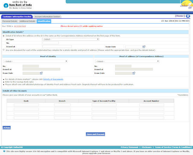 Creating SBI New Account Application Form