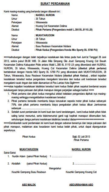 Surat Perjanjian damai kecelakaan lalu lintas