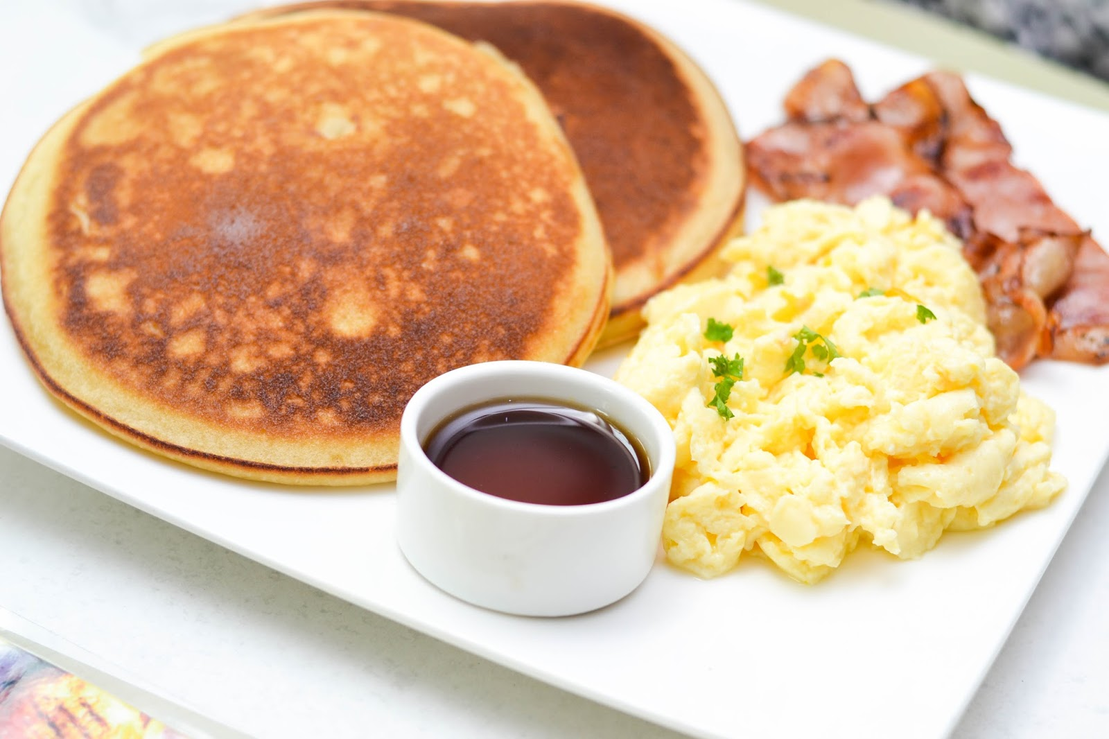 Pancakes, Maple Syrup and Scrambled Eggs