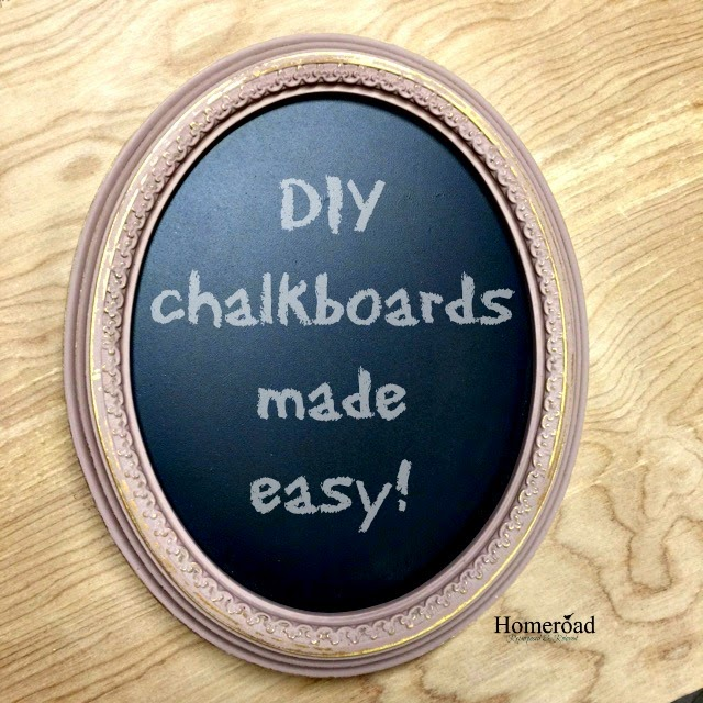 DIY chalkboards using pre-made chalkboard and a framing gun