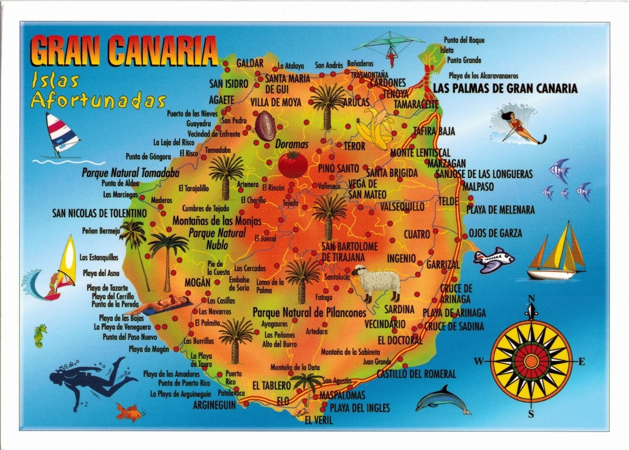 Map Of Spain Gran Canaria.Map Cards Hunting 0267 Spain Gran Canaria Island