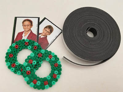Hama bead photograph magnets using magnetic tape