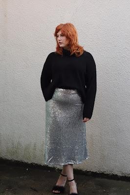 Plus Sized Sequin Skirt