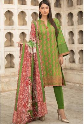 warda winter green 3 piece Chikan Kari suit with printed dupatta