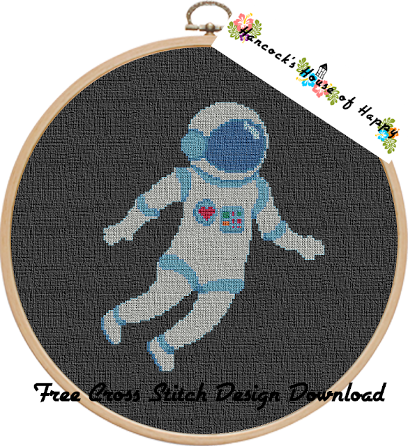 Space Week! Free Cross Stitch Design of an Astronaut in Space to Download
