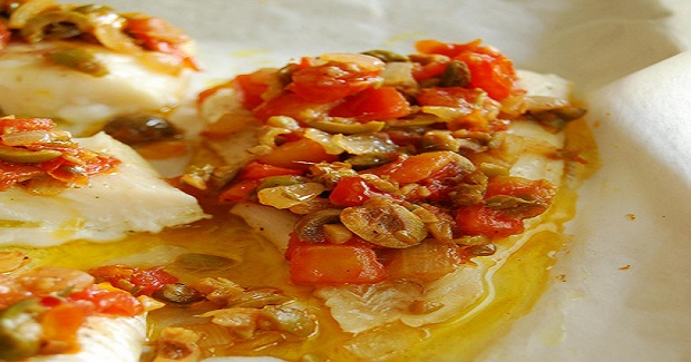 Baked Fish Fillet With Tomato, Olive, And Capers Recipe