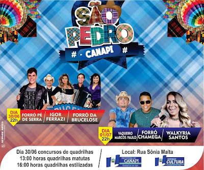São Pedro de Canapi/AL acontece neste sábado, 30 e domingo, 01 com concurso de quadrilhas juninas e shows artísticos