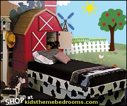 Farm Mural Barn Tractor Apple Trees Windmill Fence Corn Rows Cows Chickens Horse Flowers Duck Pond Cattails Goldfish Vinyl Decal Set